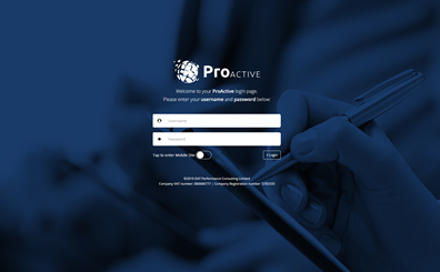 Image of the login screen for the Pro Active ISO management software